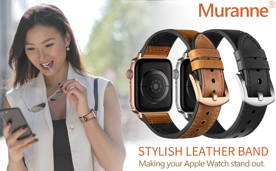 Muranne Leather Band Compatible with Apple Watch SE 40mm 38mm 42mm 44mm for Women Men