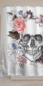 Skulls Shower Curtain Sugar Roes Flowers Skull Skeleton Halloween All Saints Day Black and White