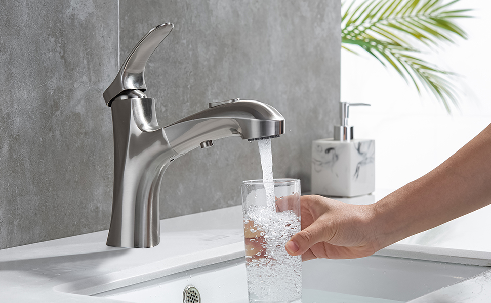 MIAOHUI Bathroom Sink Faucet with Pull down Sprayer
