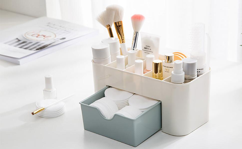 Baffect Caja de almacenaje de Escritorio de cosméticos con cajones, Organizador de Maquillaje división de cajones Organizador de Escritorio de Oficina Organizador de Maquillaje (Azul): Amazon.es: Hogar