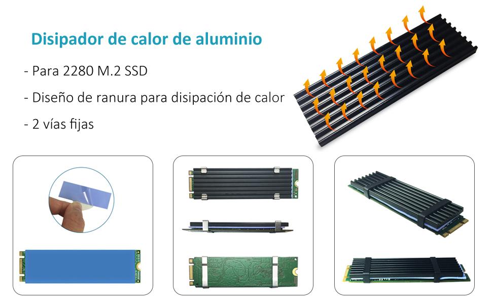 glotrends Adaptador PCIE a M.2 con disipador térmico para PC de ...