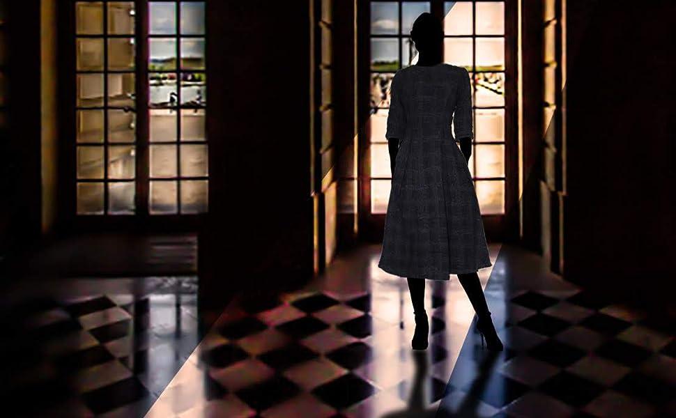 ワンピース ドレス ファッション レディース 日本製 高級 ウール 2020年 新作 チェック ツイード 生地 ウール 冬 真冬 物 羊毛 かわいい 上品 上質 ひざ下丈 7分袖 半袖