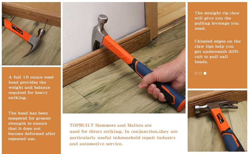 The T TOPBUILT 16 Ounce Fiberglass Straight Rip Claw Hammer