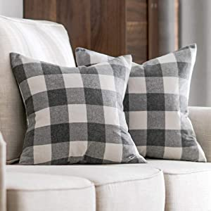 cotton linen grey and white gray 24x24 26x26 decorative bedding throw pillow cover covers cases