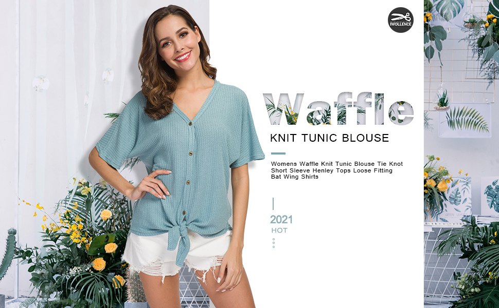 Womens Waffle Knit Tunic Blouse Tie Knot Short Sleeve Henley Tops Loose Fitting Bat Wing Shirts