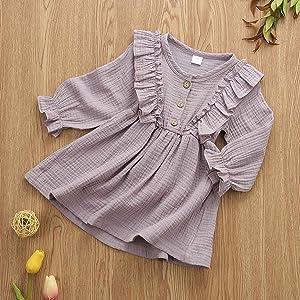 Little Girls Ruffles Long Sleeve Dresses