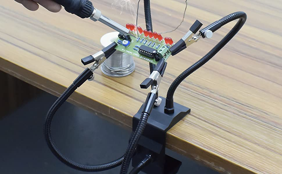 Third Helping Hands Tool Flexible Arms Soldering Station PCB Holder Desk Clamp