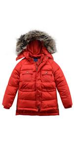 Boys Winter Faux Fur Hooded Windproof Padded Puffer Jacket