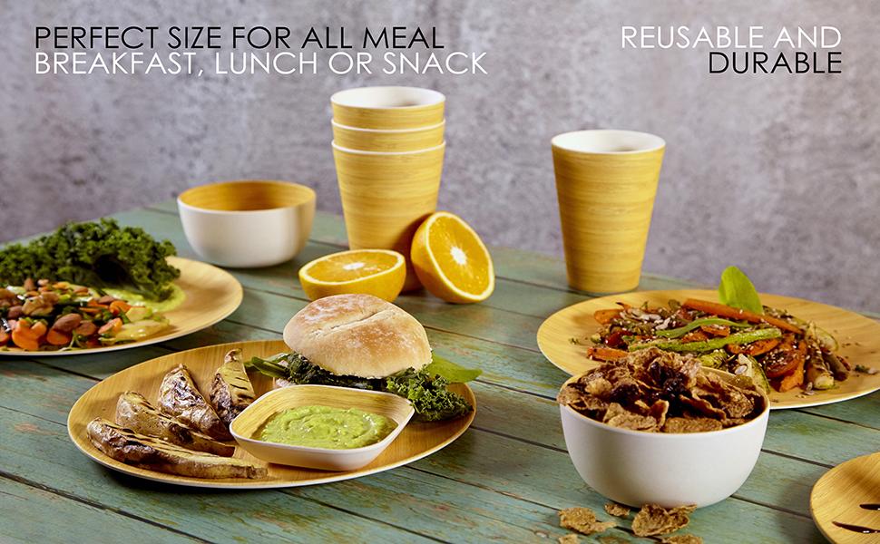 plastic plates bamboo kitchen set bowls