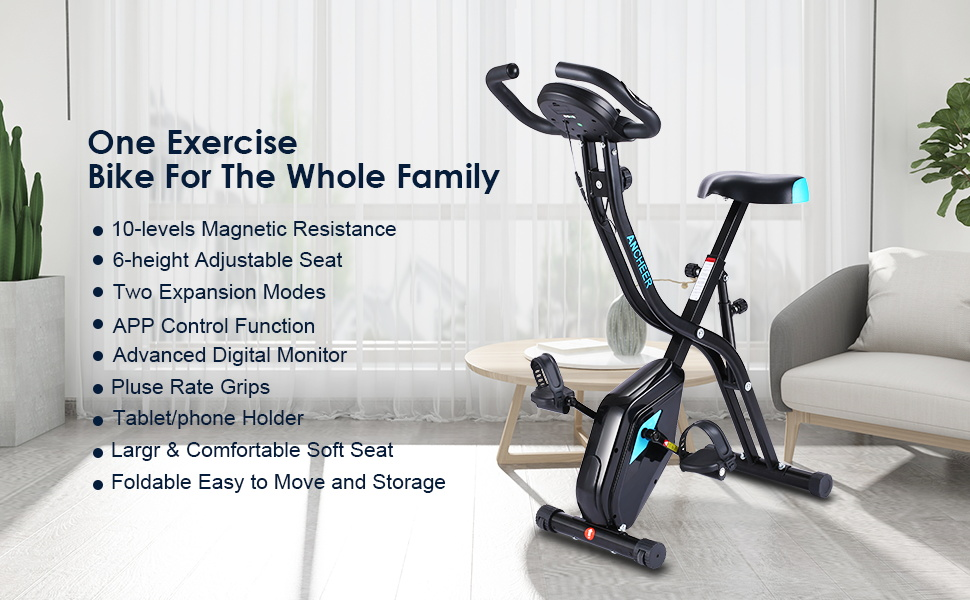 Fabulous Ancheer App Control Folding Exercise Bike Indoor Stationary Bike With 10 Level Adjustable Magnetic Resistance Comfortable Seat For Home Gym Cardio Creativecarmelina Interior Chair Design Creativecarmelinacom
