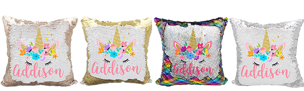 unicorn sequins pillow