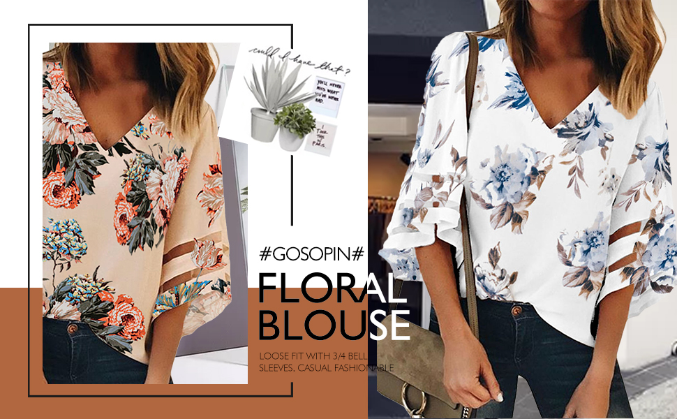 GOSOPIN 3/4 Flared Sleeve Floral Blouse