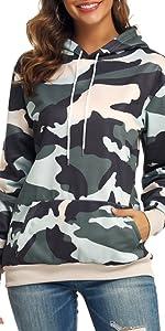 women's long sleeve hoodie camouflage pullover sweatshirt jumper tops with kangaroo pocket