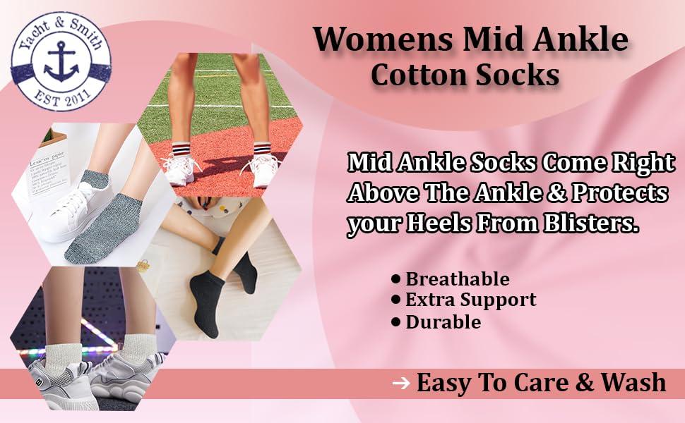 Womens Mid Ankle Socks - Cotton Sport Athletic Socks