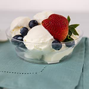 Ice Cream Cups (100 Count) 6 Oz Clear Plastic Dessert Cups with Floral Design, Disposable Party Cups
