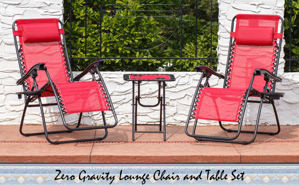 Zero Gravity Lounge Chair and Table Set