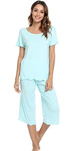 Womens Bamboo Pajamas Soft Pajama Sets Comfy Short Sleeves