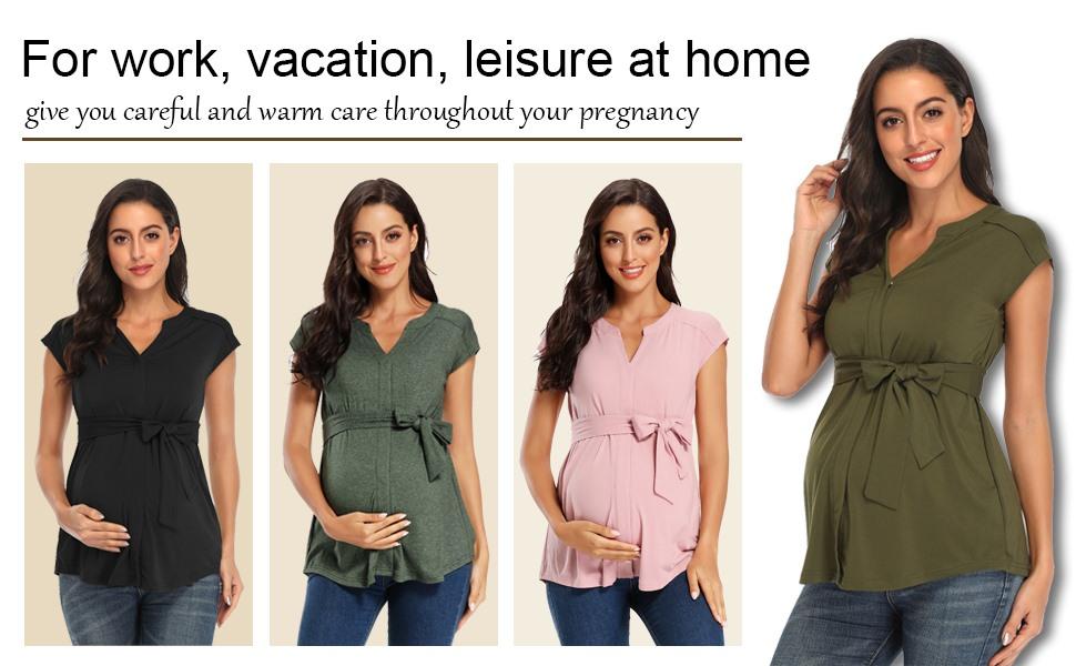 short sleeve maternity tops for work