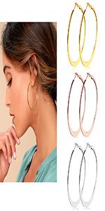 Stainless Steel Flattened Hoop Earrings