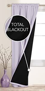 Rod Pocket Total Blackout Curtains with Double Layers