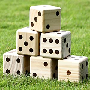 6 pcs wooden yard dice
