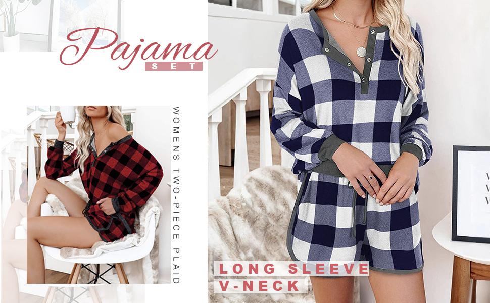 women plaid pajama set women 2 piece pajamas sets