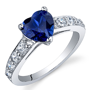 Peora Created Blue Sapphire Heart Promise Ring in Sterling Silver, 1.75 Carats, Sizes 5-9