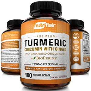 nutriflair turmeric curcumin with ginger and bioperine 2250mg 180 vegetable and vegan capsules