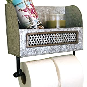 Galvanized Double Toilet Paper Holder with Shelf