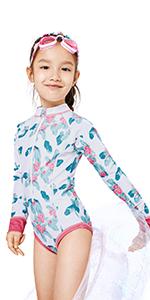Girls Rash Guard Swimsuits Zipper Long Sleeve