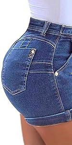 Lailezou women's mid-waist denim belt washed denim shorts summer sexy denim shorts