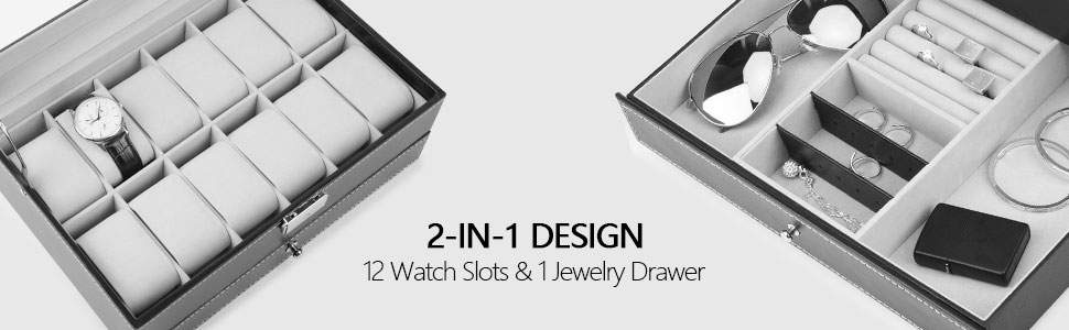 12 watch slots and jewelry drawer
