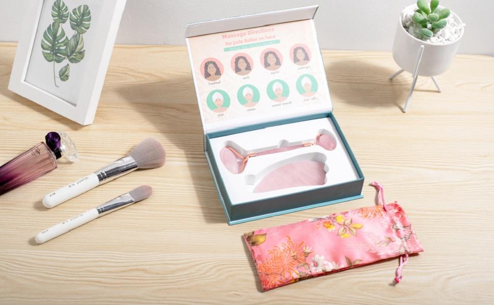 gua sha jade face roller for skin-care authentic rose quartz skincare beauty facial rollers set