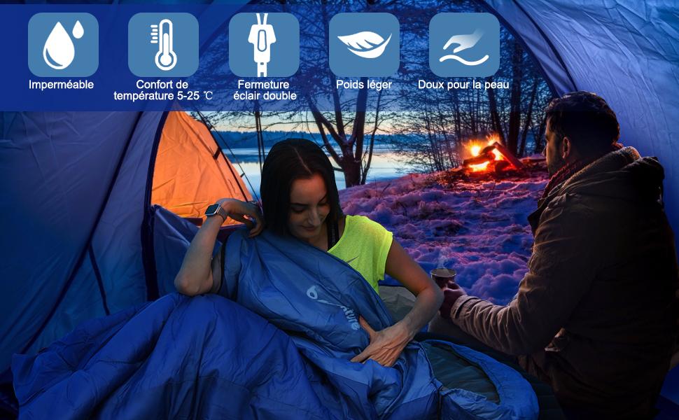 BACKTURE Sac de Couchage pour Camping avec Imperm/éable Le Sac de Rangement Randonn/ée et en Ext/érieur Professionnel pour 3 Saisons 5~25℃ 220 * 80cm