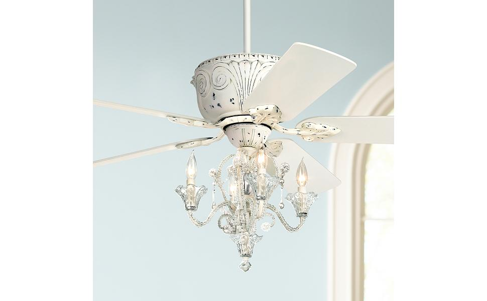 52 Casa Deville Vintage Chic Ceiling Fan With Light Led Crystal Chandelier Rubbed White For Living Room Kitchen Bedroom Family Dining Casa Vieja Amazon Com