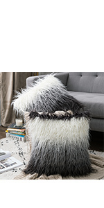 faux fur pillow covers black pillows fluffy soft shaggy
