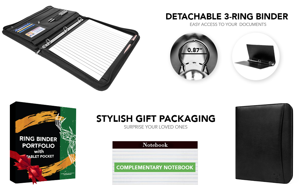 leather portfolio leather padfolio zippered closure 3 ring binder business portfolio with notepad