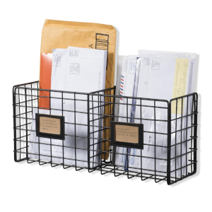 entryway organizer mail holder with name tag metal basket homework organizer