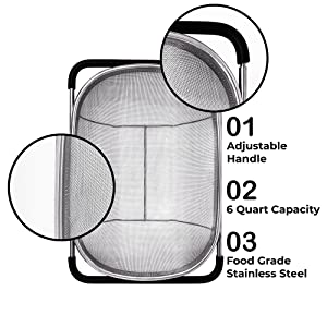 adjustable handle 6 quart capacity food grade stainless steel