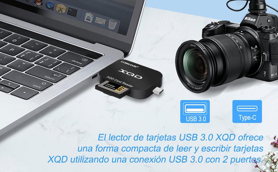 Lemorele Lector de Tarjetas XQD USB 3.0 con USB A/USB C ...