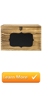 Rustic Brown Wood Wedding Card Gift Box with Slotted Lid, Lock amp; Chalkboard Label