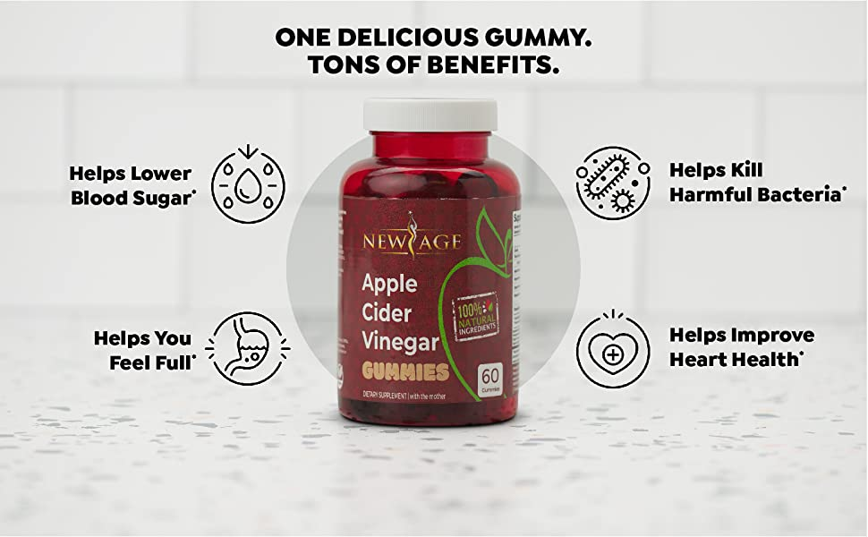 Amazon.com: Apple Cider Vinegar Gummies by New Age - 2-Pack - 120 Count -  Immunity & Detox - with The Mother, Gluten-Free, Vegan, Vitamin B9, B12,  Pomegranate, Beetroot: Health & Personal Care