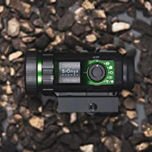 Sionyx aurora night vision camera mounted on a picatinny rail mount