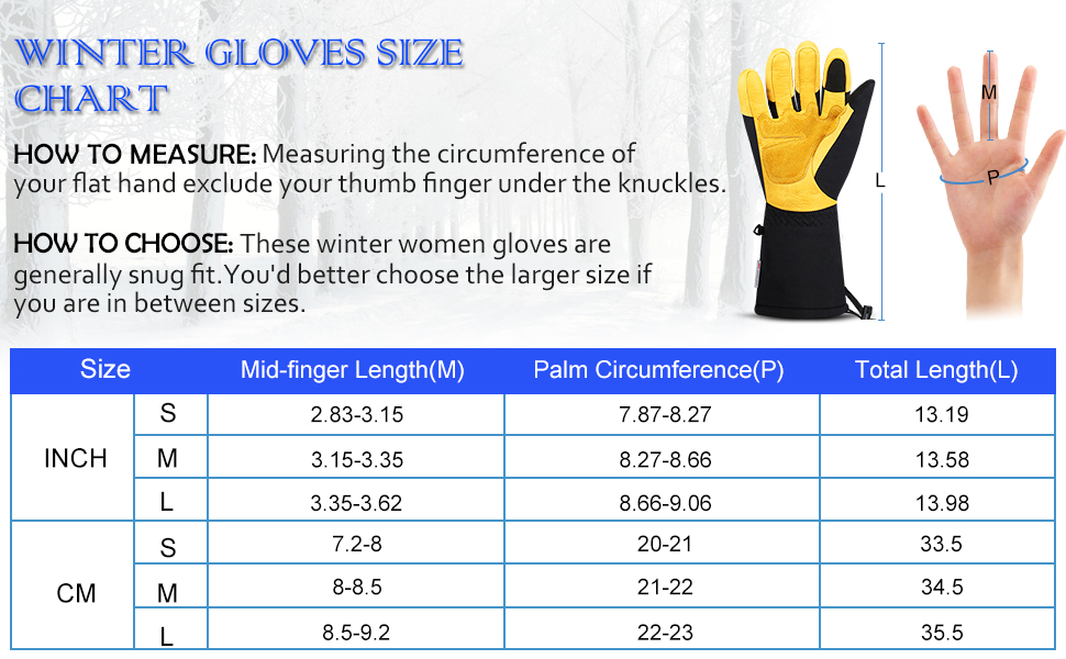 winter ski gloves size chart