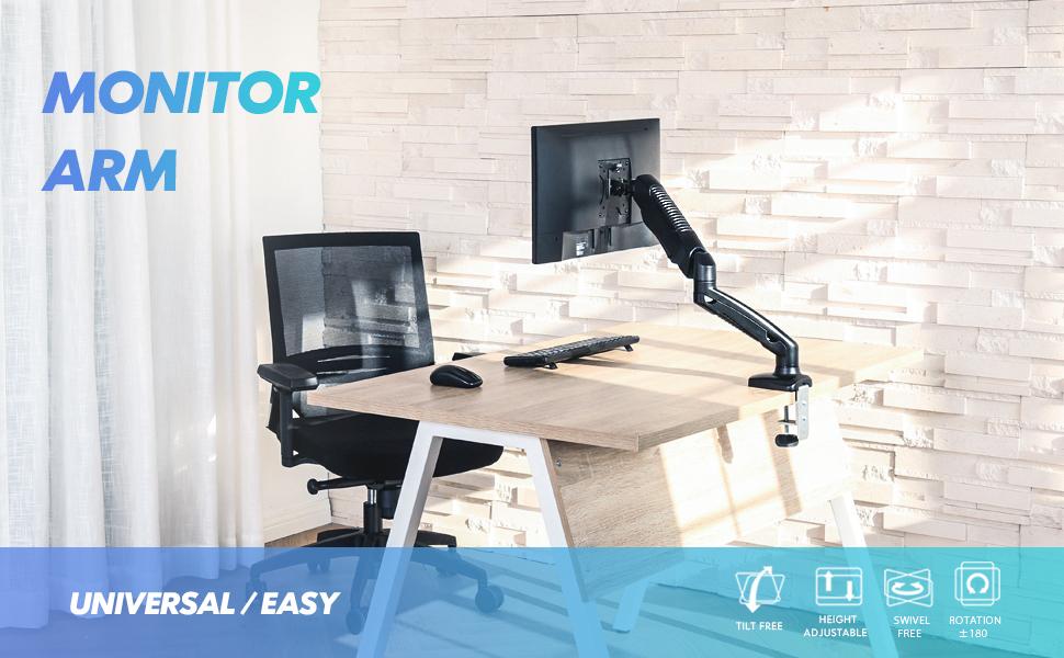 Single Monitor Arm Desk Mount Ergonomic LCD LED Computer Bracket Stand