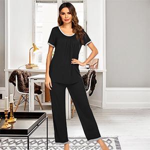 Pajama Set Ladies Light and Soft Casual Pajamas Short Sleeve Top with Trousers Pj Set