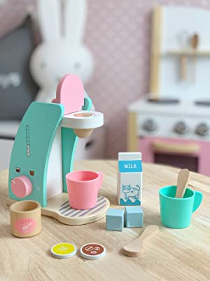 wooden play coffee maker set