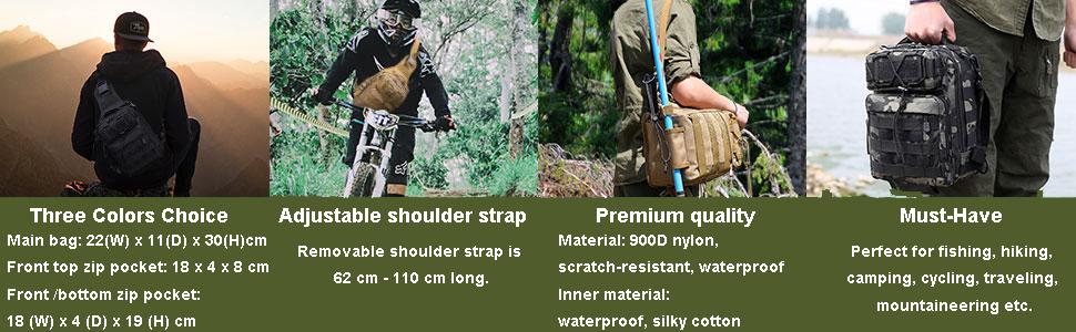 huntvp mochila táctical pecho bandolera hombro militar impermeable pescar caza senderismo ciclismo