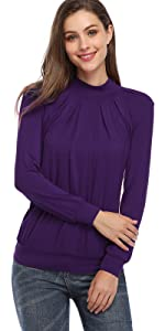 mock turtlenck pleated front tunic tops