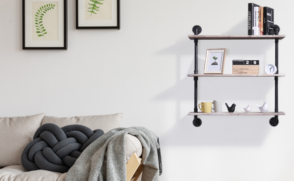 wall mounted wood and metal pipe decorative shelves floating shelf in living room setting